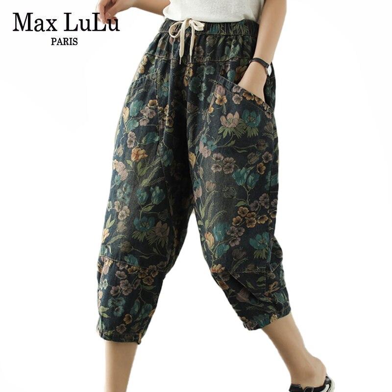 Max LuLu Europäischen Luxus Designer 2021 Womens Floral Gedruckt Denim Hosen Damen Elastische Vintage Jeans Casual Pantalons Plus Größe