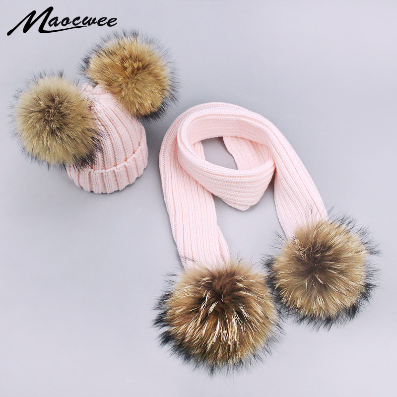 Unisex Solid Color Scarf Hat Set Children Beanies PomPon Knitted Skullies Hats Pure Colour Autumn And Winter Warm Pure Colour