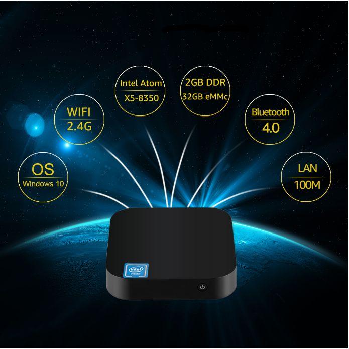 Popular W8 Pro Intel Tv Box Win10 Z8300 4cores 1.84GHz 64bit 2GB 32GB BT 4.0 TF Card 4K X 2K Mini Pc