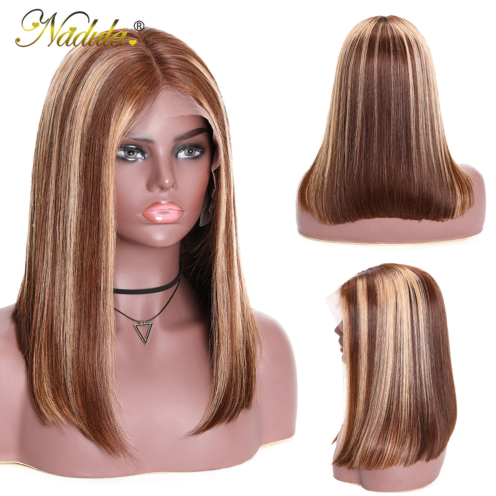 Nadula Wig 13x4 Lace Front  Wigs Short Bob Wig Straight Highlight Wig Pre Plucked Hairline Bleached Knots  Hair 2