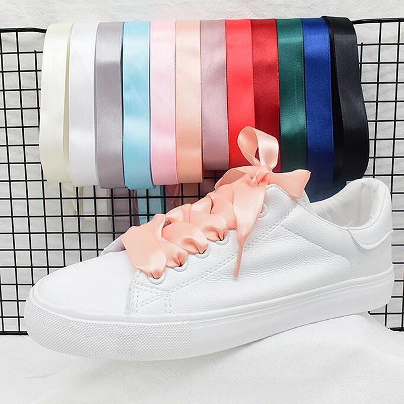 1Pair 2 CM Width Satin ShoeLaces Flat Sneakers Shoe Laces Silk Ribbons Laces 80CM 100CM 120CM 20 Colors Shoe Lace S1