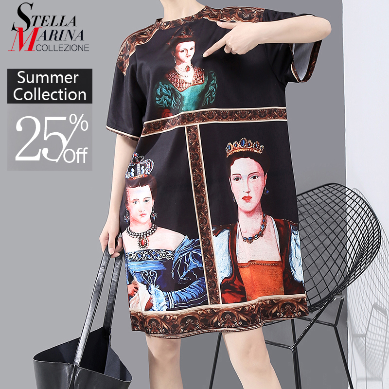 New 2020 Korean Style Women Summer Black Dress Printed Ladies Plus Size Casual Straight Midi Dress Cute Wear Robe Femme 6001(China)