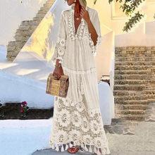 Robe blanche à manches longues, style bohème, grande taille, col en v, couleur unie, avec franges en dentelle