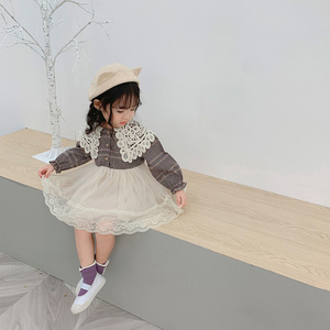 Image 4 - 2019 Autumn New Arrival Korean style cotton plaid matching princess long sleeve dress with lace collar for cute sweet baby girls