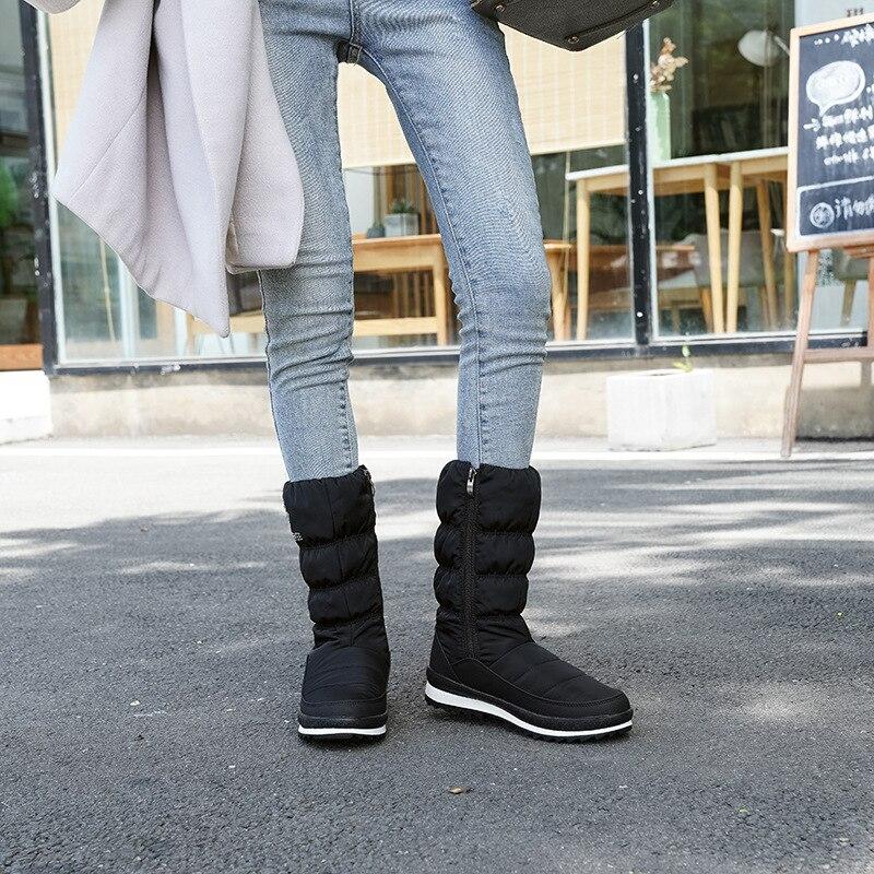 Tube de loisirs de mode chaud, imperméable à l'eau, résistant à l'usure en duvet bottes de neige femmes fermeture éclair latérale bottes pour femmes confortables - 3