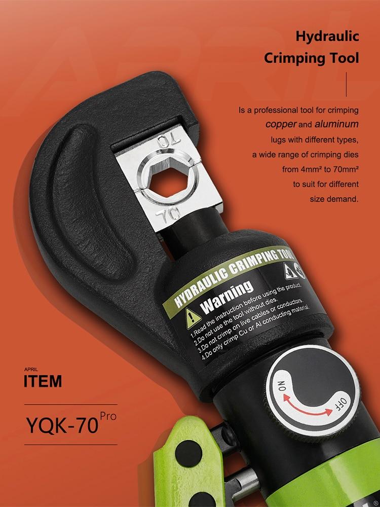 Plier Hydraulic-Compression-Tool YQK-70 Pressure-5-6t 4-70MM2 Range