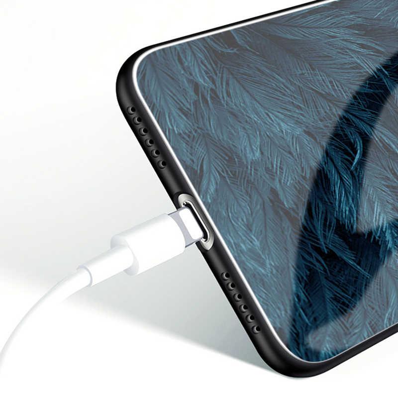 Skinlee untuk Huawei Nova 7i Case Tempered Glass Case Bulu Cetak Cover untuk Huawei Nova 7i Funda Case