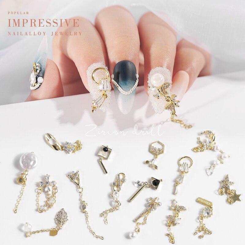 Классические роскошные стразы, кристаллическая цепочка для дизайна ногтей, аксессуары для дизайна ногтей, сплав, циркон, формирование, укра...