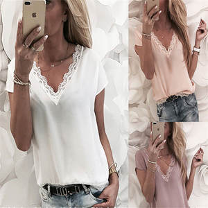 Tops Summer Clothing Tshirt Short Lace Patchwork Soli Loose Women Casual
