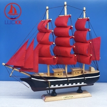 LUCKK 33cm Mediterranean Wooden SailBoat Handmade Ship Model Red Canvas Office Room Decor Nautical Crafts Kids Christmas Gifts