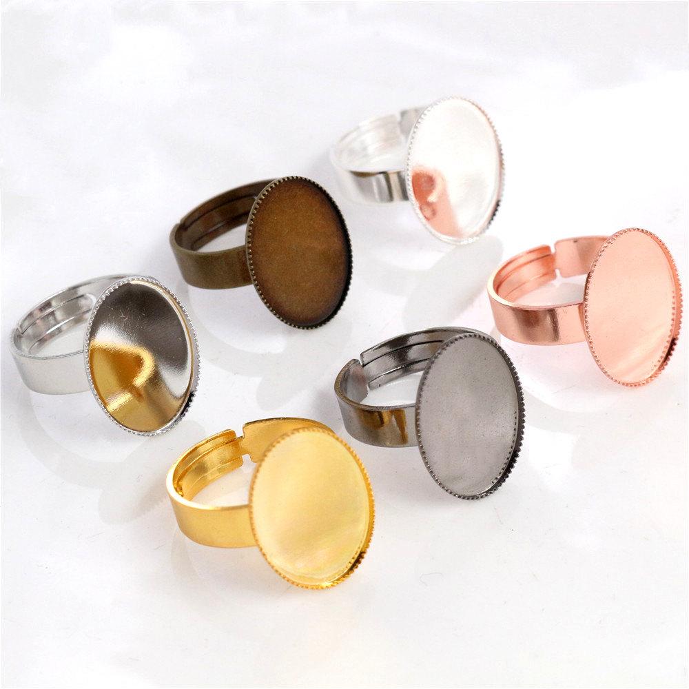 13x18mm 10pcs/Lot 6 Color Plated Brass Oval Adjustable Ring Settings Blank/Base,Fit 13x18mm Glass Cabochons