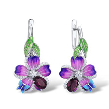 2019 New Cute Epoxy Blue Purple Flower Silver Drop Earrings for Women Dangle Korean
