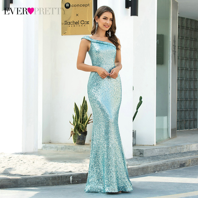 Elegant Blue Evening Dresses Ever Pretty Sequined One-Shoulder Sleeveless Ruched Sparkle Mermaid Party Gowns Vestido Longo Festa