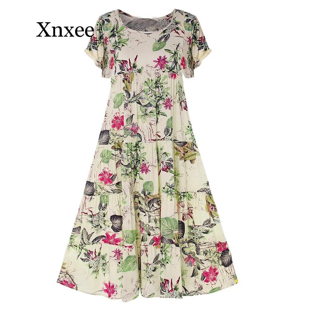 Womens Casual Summer Scoop Neck Retro Floral Print Flower Pattern Boho Dress