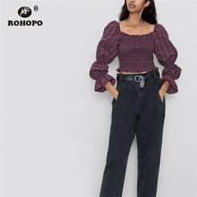 купить ROHOPO Puff Long Sleeve Black Striped Plaid Ruffled Smocking Tube Crop Tops Tee Red Square Collar Chic Holoday Shirt #9285 дешево
