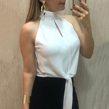 Plus Size Sexy Office Ladies Shirts White Turtleneck Off the