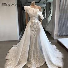 Saias removíveis marfim sereia vestidos de casamento fotos reais um ombro boho praia vestidos de noiva longos para mulher