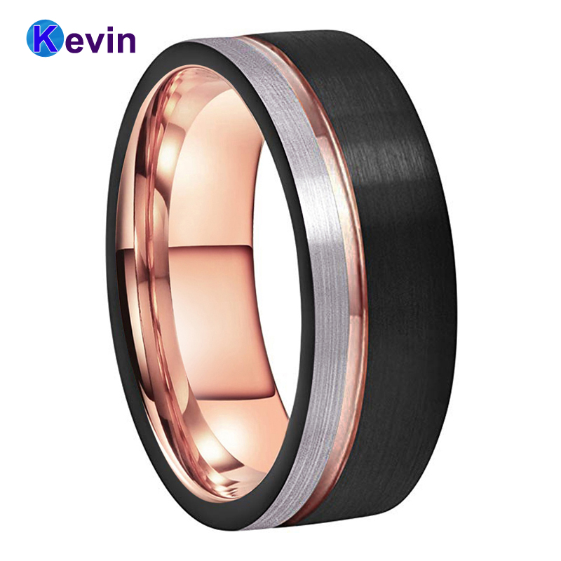 Mens Womens Wedding Band Tungsten Carbide Ring Black Rose Gold With Offset Groove And Brush Finish