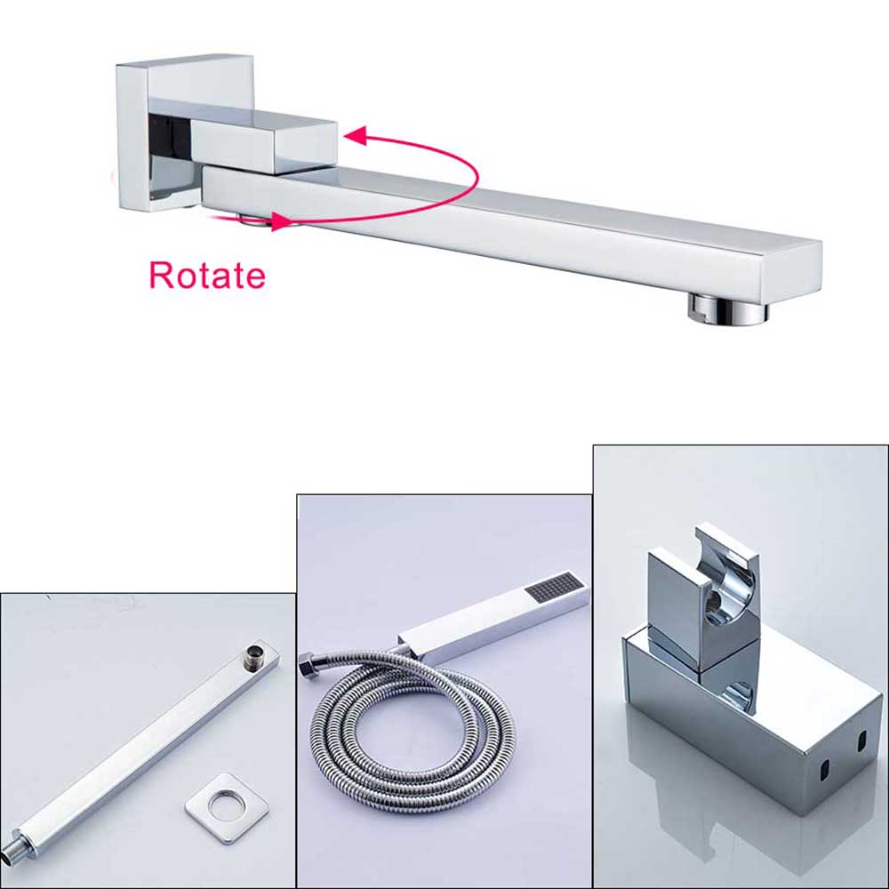 Hc80e5727e0e345119f508a9392b34d5cP Rozin Wall Mount Rainfall Shower Faucet Set Chrome Concealed Bathroom Faucets System 16'' Head with Swivel Tub Spout Mixer Tap