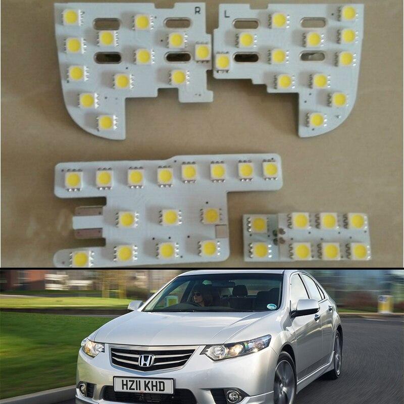 4x для Honda Accord евро Acura TSX Crider 2009 ~ 2014 Подсветка салона Купол Карта дрена светодиодный лампы лампа для чтения багажник Панель лампа
