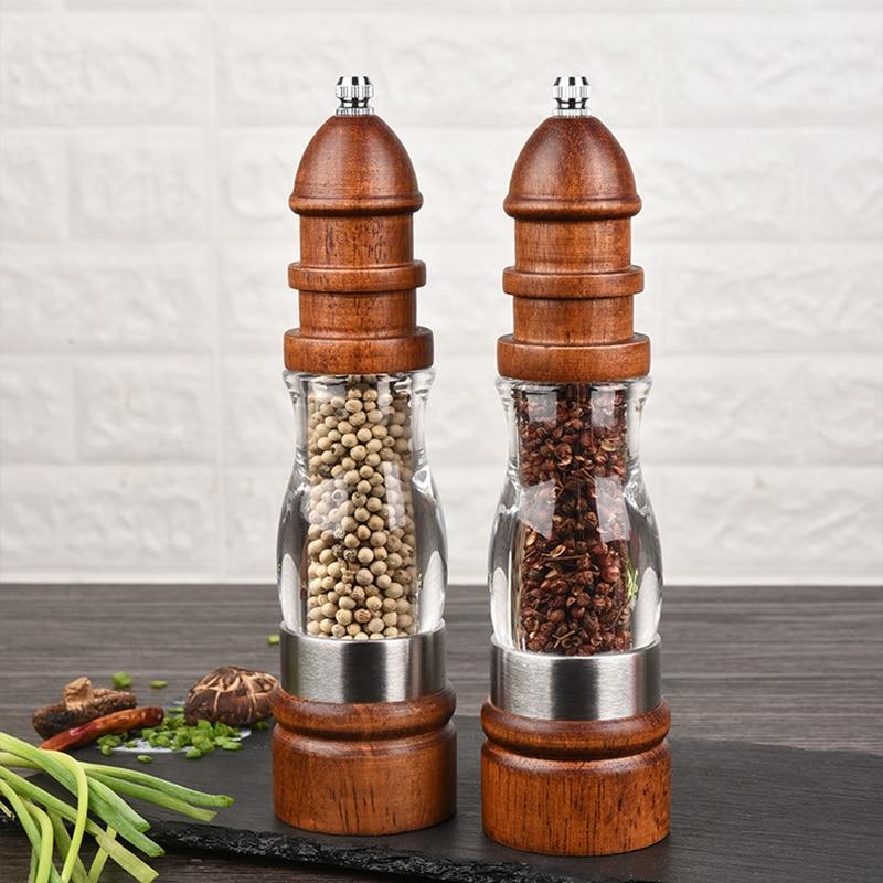 Holz Salz und Pfeffermühle Set Holz und Acryl Mühlen, Einstellbar grobheit keramik grinder Salzgefäße, -Streuer & -Servierer    - AliExpress