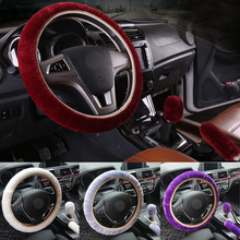 3Pc /Set Winter Car Plush Steering Wheel Cover + Handbrake cover Automatic Covers Gear shift 3pcs car accessories