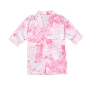 1-6Years Spring Autumn Children Satin Bathrobe Kids Girls Tie Dye Print Bath Robe Boys Girls Pyjamas Kids Long Sleeve Towel Robe