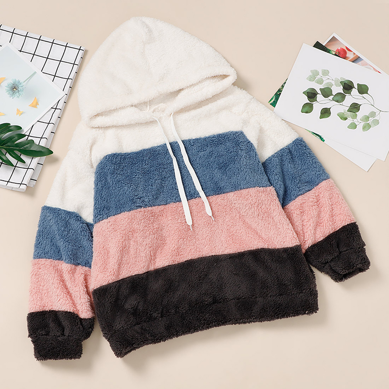 Women's Fleece Patchwork Hooded Sweatshirt Rainbow Striped Casual Warm Pullover Hoody 2020 Winter Autumn Thicken Hoodies Female 4