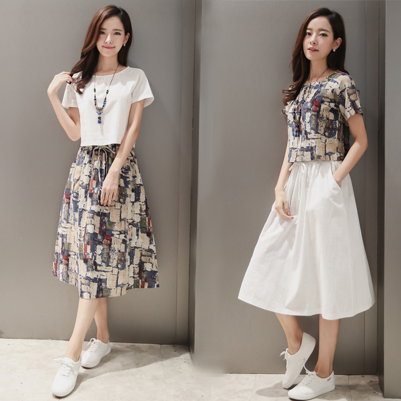 2019 Korean-style Cotton Linen Two-Piece Set Summer Ink Printed Retro Set Skirt Flax Dress Large Size Dress