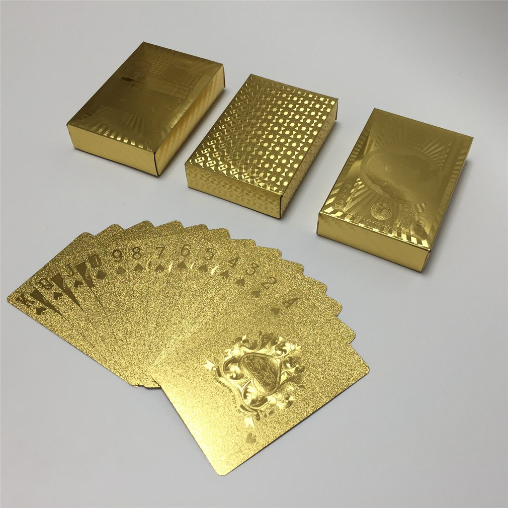 Gold Foil Plated Playing Cards Poker Set Pokerstars Party Table Game Durable Waterproof Cards