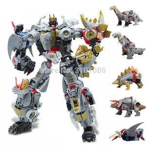Image 2 - Bmb 変換 dinoking volcanicus ボックス男児スラグ汚泥うなり声急襲スラッシュ dinobots 5IN1 合金アクションフィギュアロボットのおもちゃ
