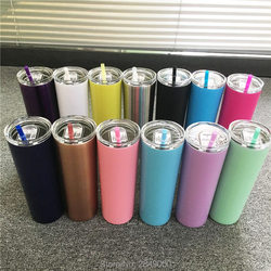 20oz Stainless Steel Skinny Tumbler With Lid Straw Skinny Cup Wine Tumblers Mugs Double Wall Vacuum Insulated Cup Water Bottle