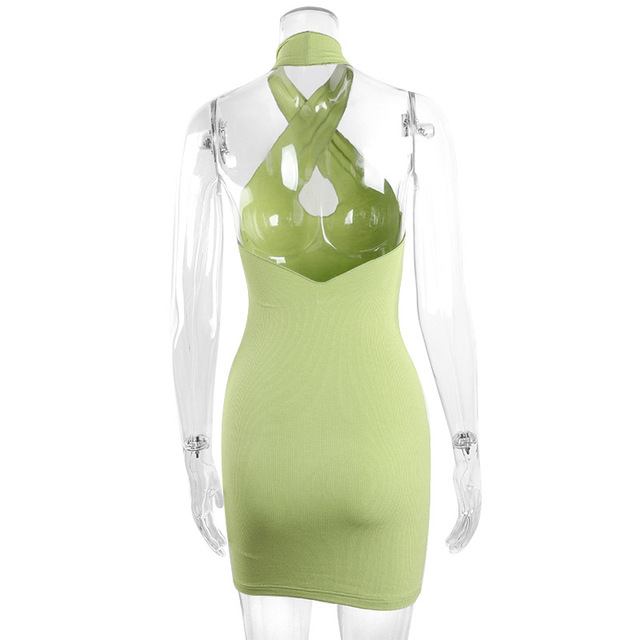 2021 Hollow Out Sexy Dress Women Green Sleeveless Y2K Backless Summer Blue Halter Neck Bodycon Mini Dresses Beach Party Fashion 5