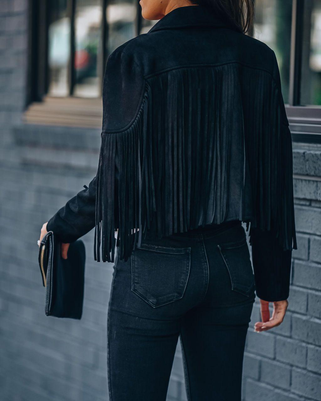 Hc80f0b1339c24b6dbb92bb68142aad92V Fringed Bomber Jacket Women Spring Fashion Long Sleeve Turn-down Collar Open Stitch Slim Jackets