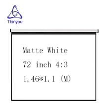 Thinyou 72 inches 4:3 Portable Wall Mounted Matt White Curtains and hand projector screen for LED LCD HD Movie Projector Display