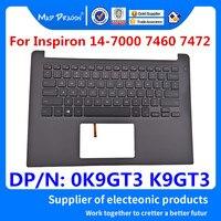 MAD DRAGON 브랜드 노트북 Dell Inspiron 14-7000 7460 7472 BKA40 0K9GT3 K9GT3 용 새 손목 받침대 미국 백라이트 키보드 어셈블리