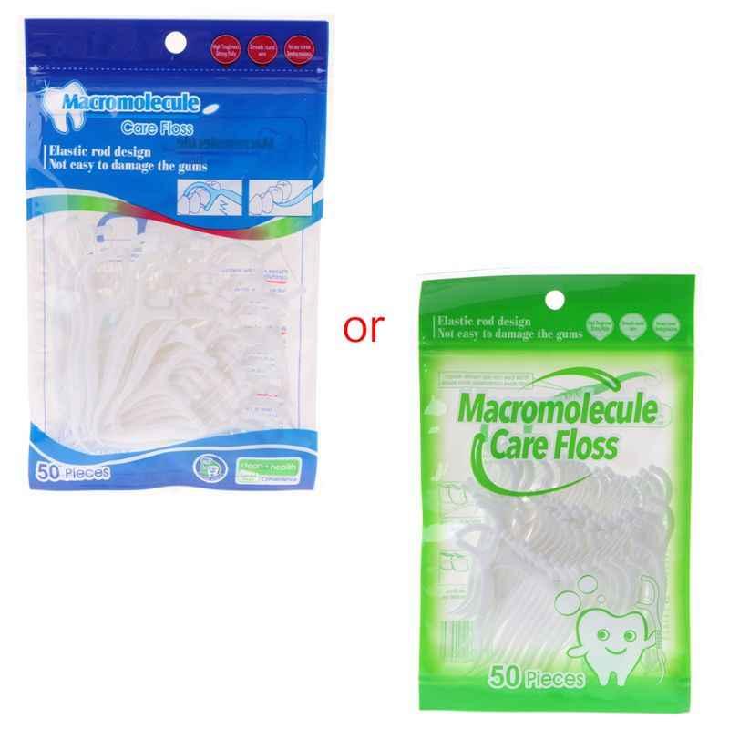 50 sztuk nić dentystyczna wykałaczka szczoteczka międzyzębowa do czyszczenia wykałaczka Flosser 7X1.5CM T4MB