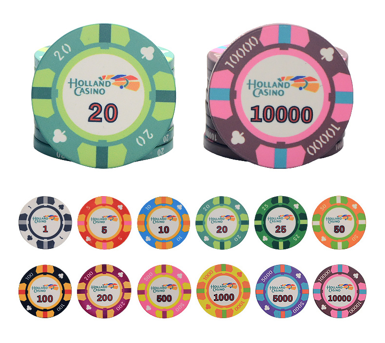 Ceramic Texas Poker Chips Professional Casino European Poker Chips Set 10pcs/Lot