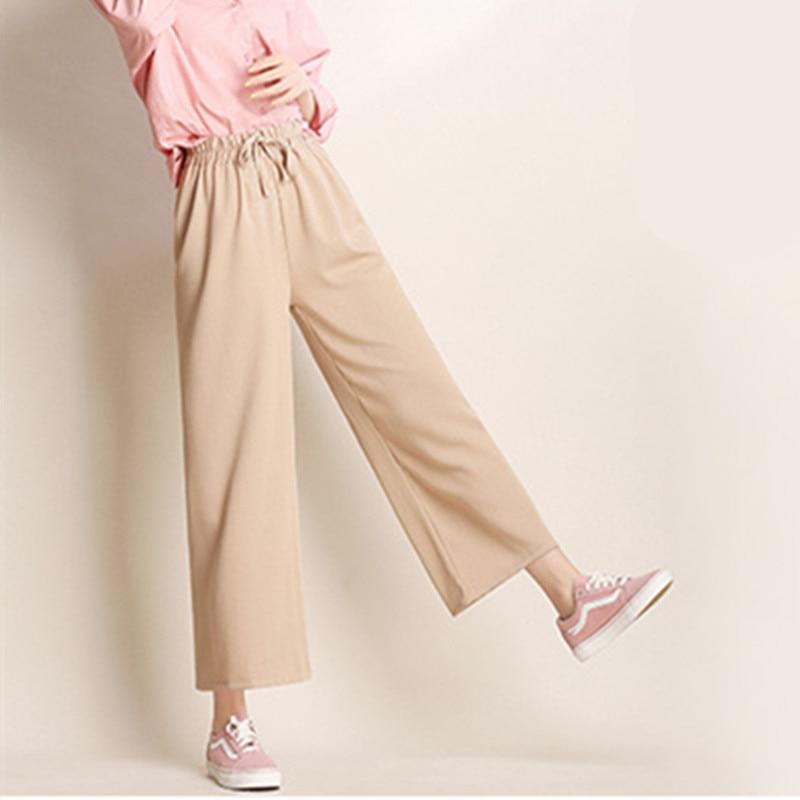 Leisure high waist   pants   trousers woman ice silk Korean version of the new loose women   pants   waist loose fashion   wide     leg     pants