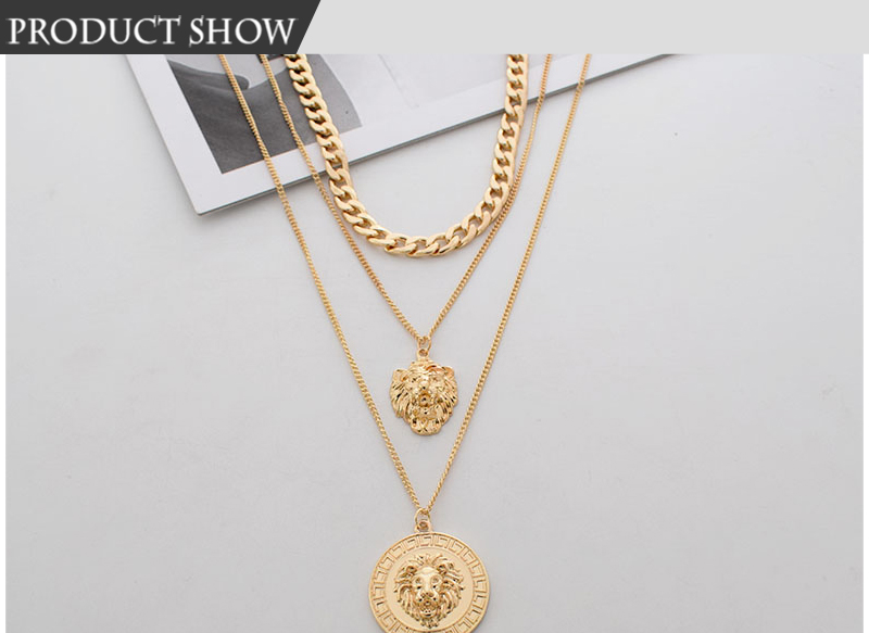 Hc80f52cc053349fa86f41e4060b3319ay - Punk Style Statement Metal Gold Color Chain Multi Layer Necklaces Lion Pattern Round Coin Pendant Necklace For Women Party