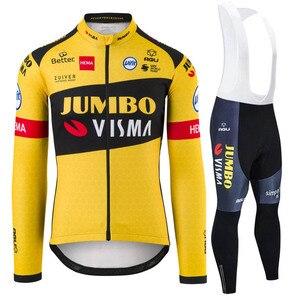 Cycling Jacket Suit Men Jumbo Visma Team AGU Uifit 2020 Winter Warm Fleece Bike Jersey Ciclyng Set Wielerkleding Trajes Ciclismo(China)