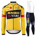 Fietsen Jas Pak Mannen Jumbo Visma Team Agu Uifit 2020 Winter Warm Fleece Fiets Jersey Ciclyng Set Wielerkleding Trajes Ciclismo
