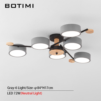 BOTIMI Indoor LED Chandelier For Master Bedroom Modern Wooden Study Room Lustres Ceiling Mounted Living Room Chandeliers 18