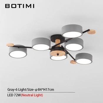 BOTIMI Indoor LED Chandelier For Master Bedroom Modern Wooden Study Room Lustres Ceiling Mounted Living Room Chandeliers 18
