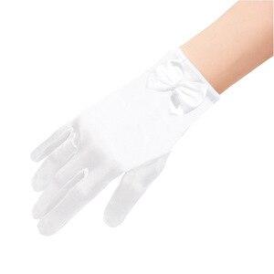 Image 3 - 5 ピース/ロットショート赤指のフラワーガールのウエディング手袋女性ダンスパーティーパフォーマンス手袋