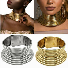 African Jewelry Vintage Necklace Metal Coil Adjustable Leather Torques Statement Choker Necklace Gift Maxi Collar Punk Style vintage faux leather x shaped choker necklace