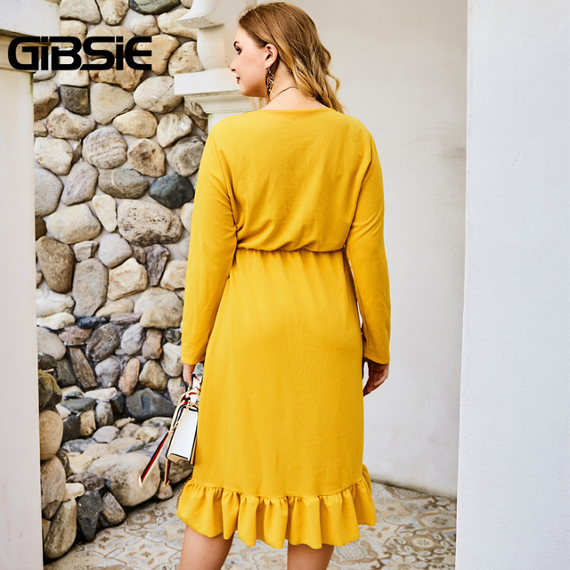 GIBSIE Wrap V-neck Tunic Midi Dresses Women Elegant Asymmetrical Ruffle Dress 2019 Autumn Long Sleeve High Waist Office Dress 2