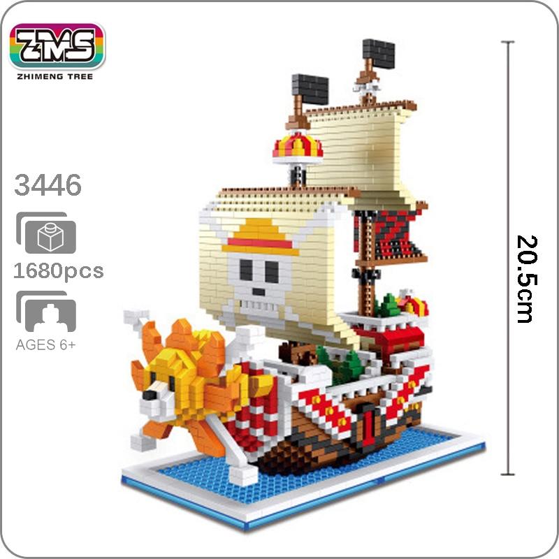 HC Anime One Piece Luffy Sunny Pirate Ship Mini Diamond Building Nano Blocks Toy