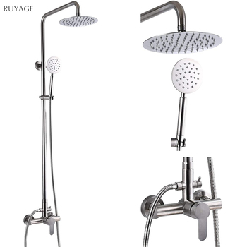 RUYAGE shower sets bathroom shower faucet hot and cold mixer Brass faucet Bathtub shower system mixer RY16 shower faucets bathroom cabin showerhead top spray raining faucet brass shower sets gold home decoration the mixer crane oyd008r