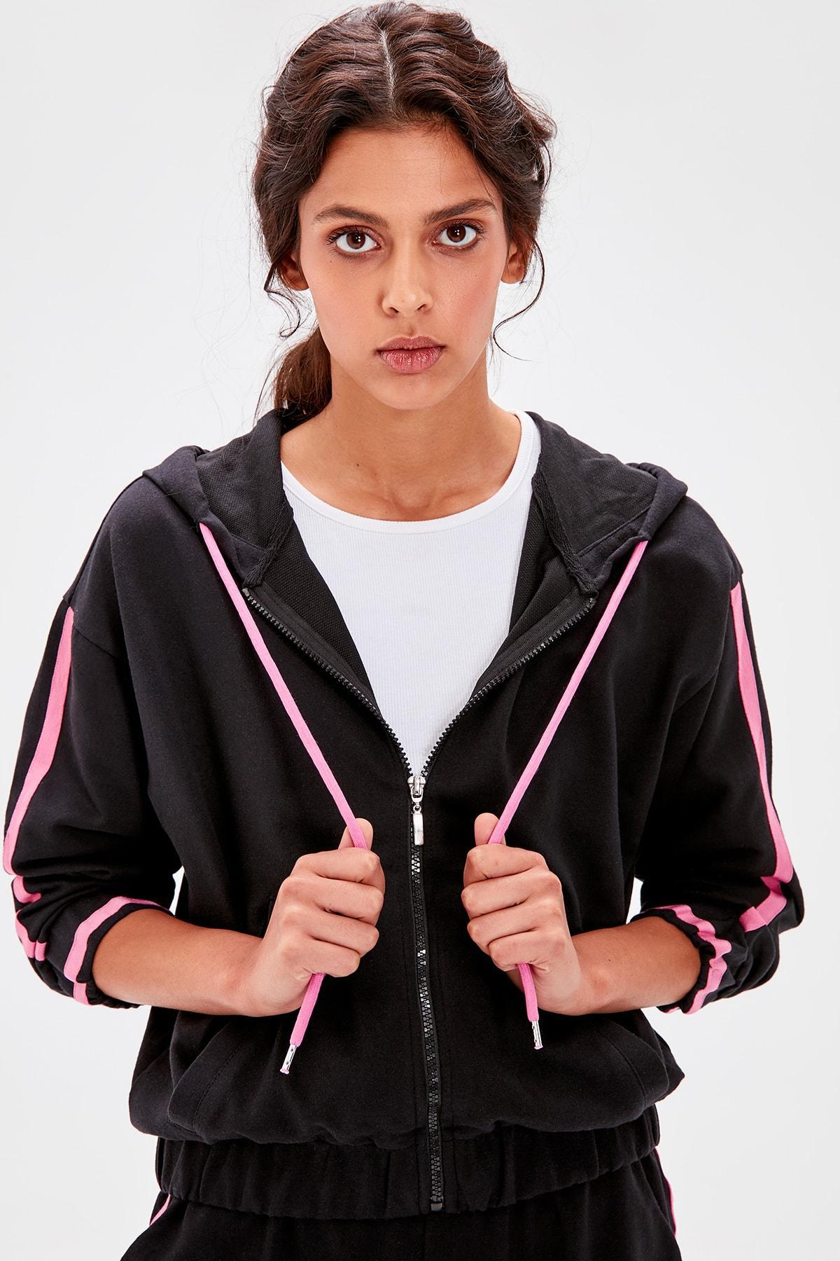Trendyol Black Bias Tape Detaylı Knitted Sweatshirt TWOAW20SW0103